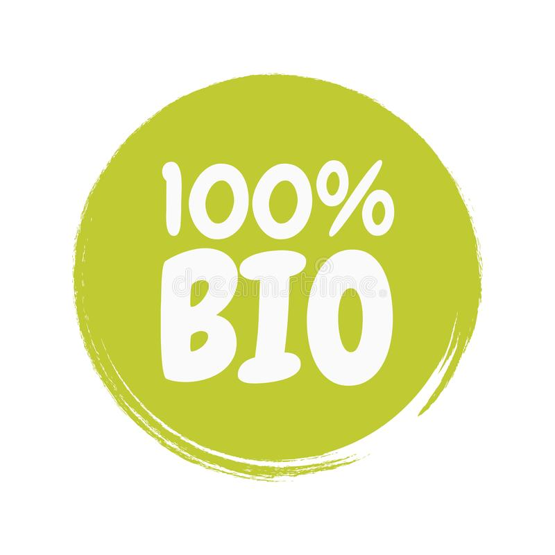 Fresh healthy organic vegan food badge. Vector hand drawn illustration. Vegetarian eco green concept royalty free illustration