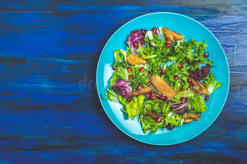 Fresh healthy salad with lettuce, chicken and pomegranate in blue plate royalty free stock photo