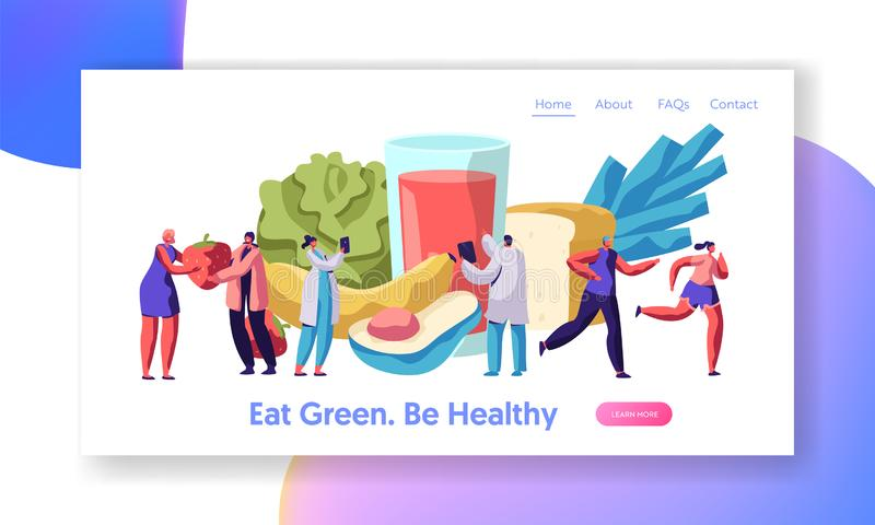 Fresh Healthy Vegetable Organic Salad Landing Page. Organic Meal for Diet Slow Food Concept. Banana and Fruit Menu for Vegetarian. Lifestyle Website or Web Page vector illustration