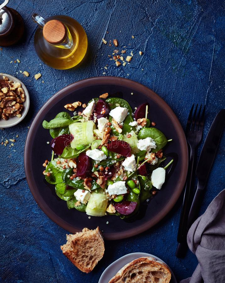 Fresh healthy vegetable salad with feta cheese stock photo