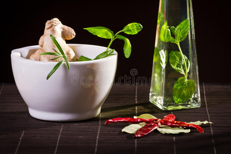Fresh herbs on bamboo mat royalty free stock images