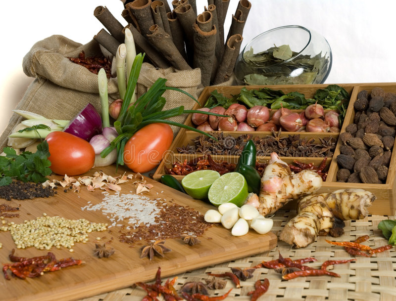 Fresh herbs and spices royalty free stock photo