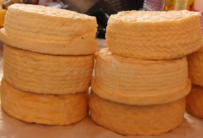 Home made Cheese at the market royalty free stock photography