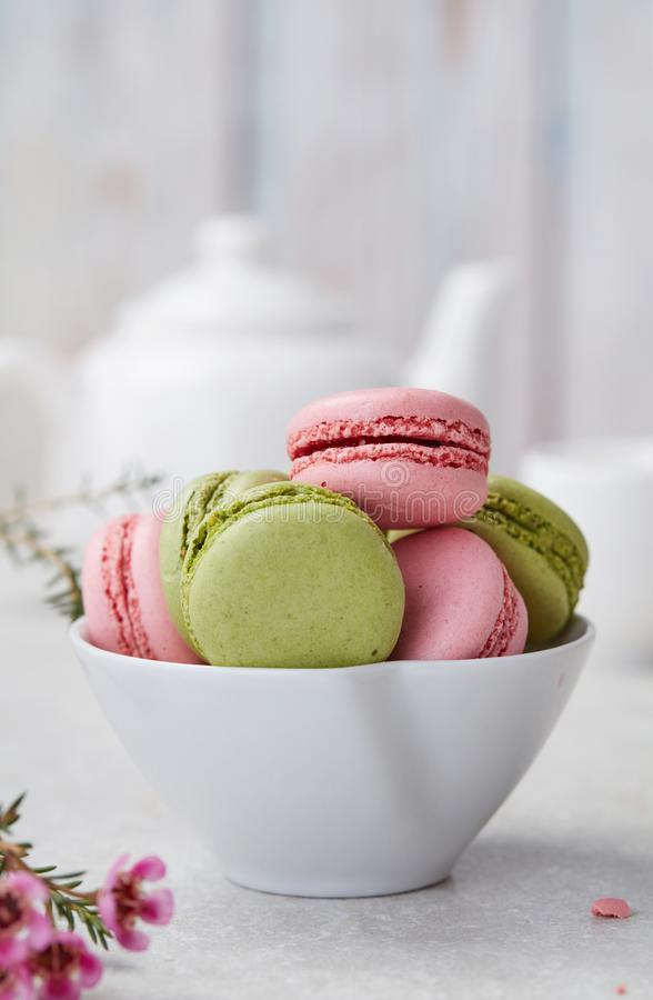 Fresh home made macaroons stock photos