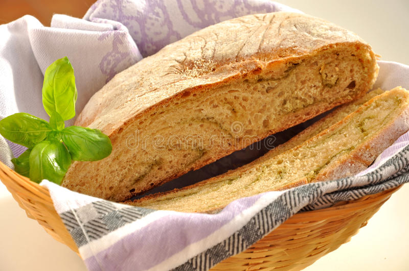 Fresh homebaked wheat bread in the basket. stock images