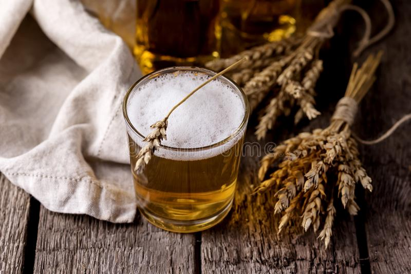 Fresh Homemade Beer Glass of Cold tasty Beer Horizontal Above royalty free stock photography