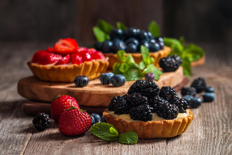 Fresh homemade berrie tarts royalty free stock images