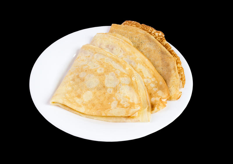 Fresh homemade blinis top view isolated stock photography
