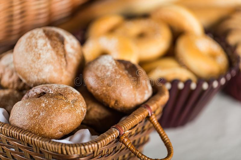 Fresh homemade bread on table royalty free stock images