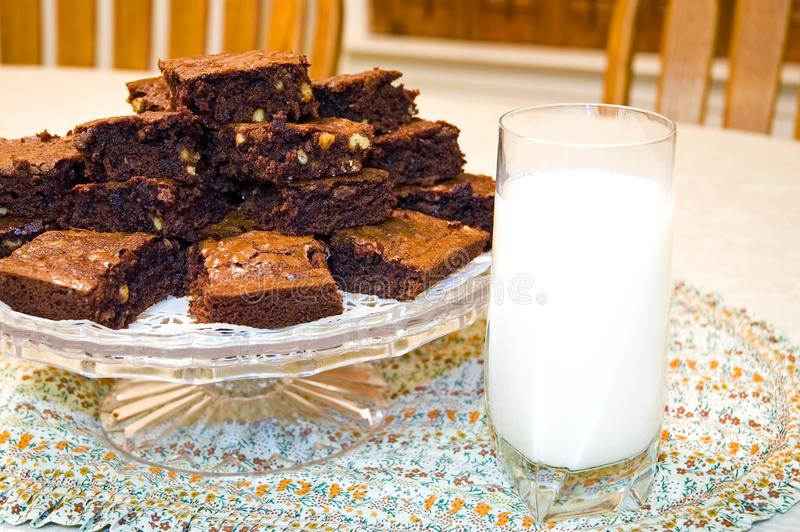 Fresh Homemade Brownies and Milk royalty free stock image