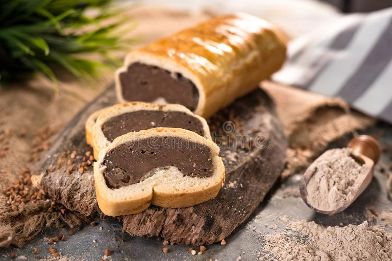 Fresh homemade buckwheat bread. Traditional Slovenia stock photos
