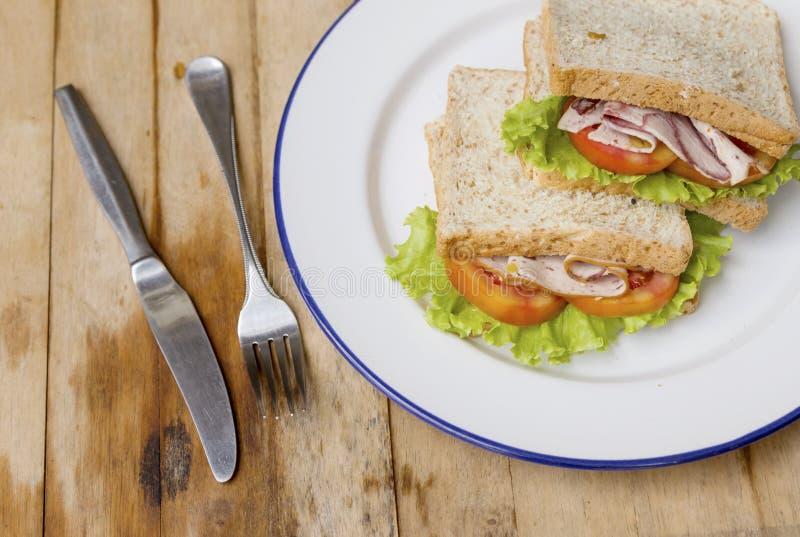 Fresh homemade club sandwich with lettuce stock photo