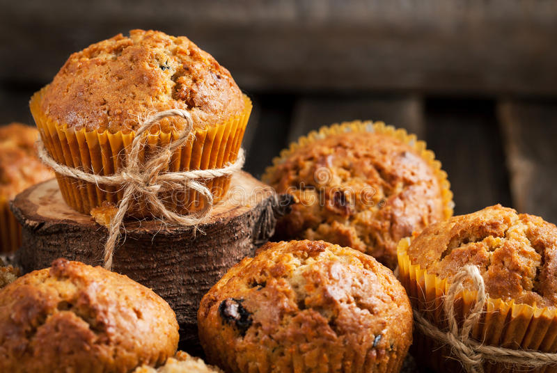 Fresh homemade delicious carrot muffins. With dried friuts and nuts stock photos