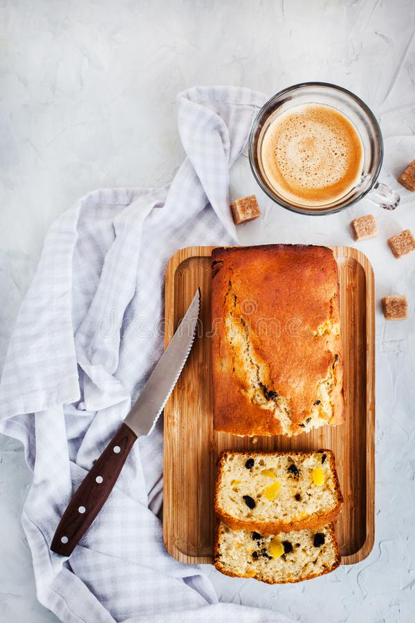 Fresh homemade delicious morning glory loaf cake stock photos