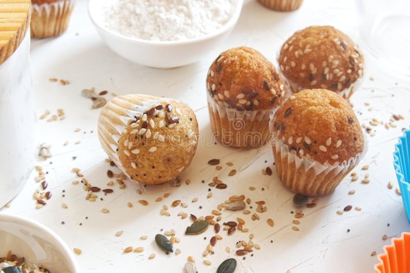 Fresh homemade delicious wholegrain cupcakes and muffins. Natural light and empty copy space. For Editor`s text royalty free stock photography