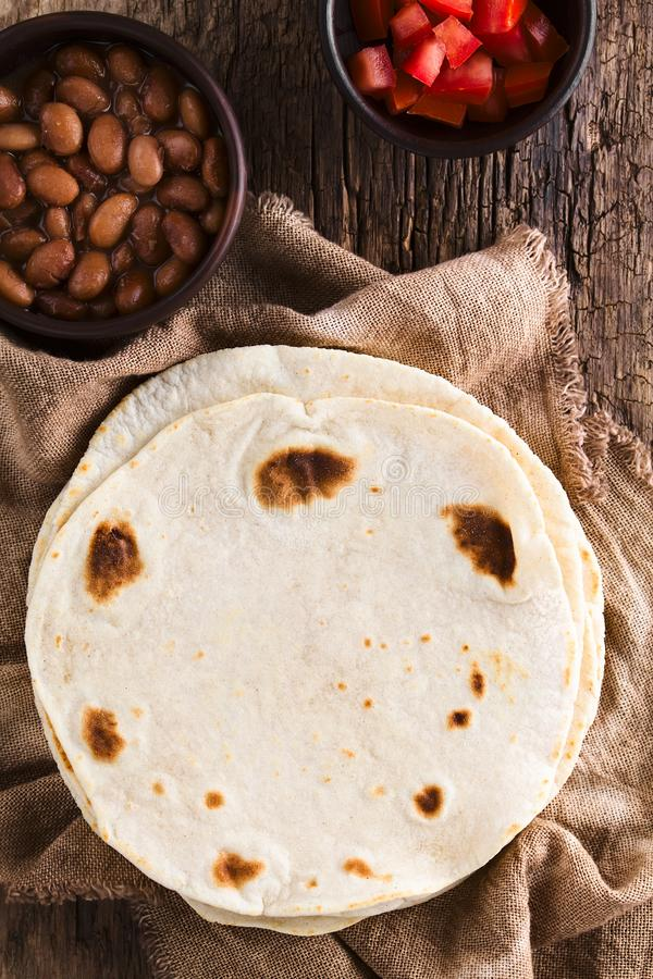 Fresh Homemade Flour Tortillas royalty free stock images