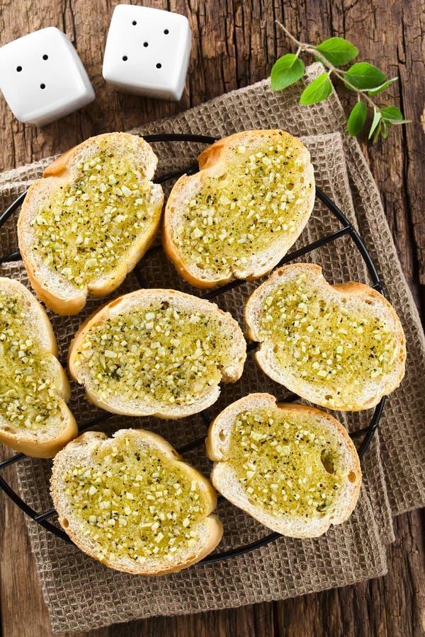 Fresh Garlic Bread with Oregano stock photography