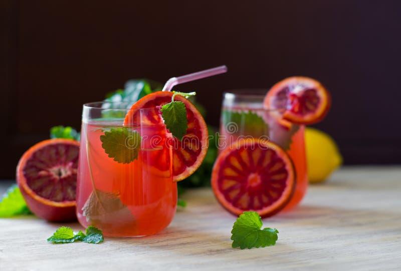 Fresh homemade lemon mint and blood orange lemonade. stock images