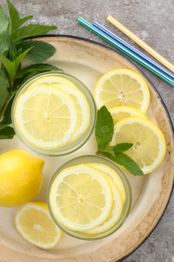 Fresh Homemade Lemonade or Lemon Water royalty free stock photo