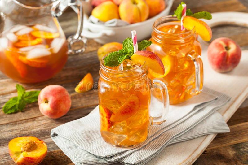 Fresh Homemade Peach Sweet Tea royalty free stock image