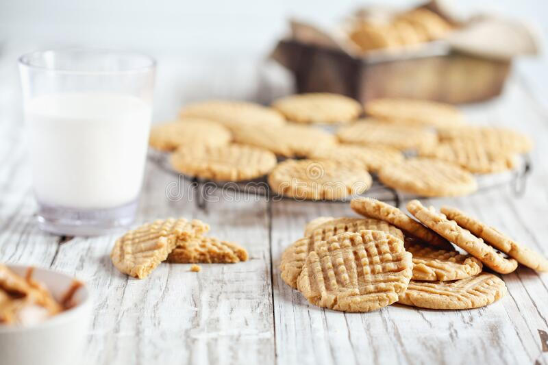 Fresh Homemade Peanut Butter Cookies stock images