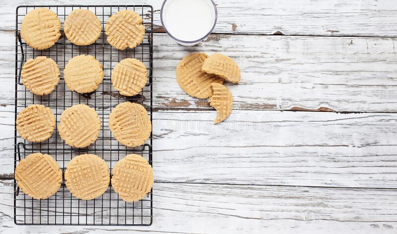 Fresh Homemade Peanut Butter Cookies From Overhead royalty free stock photos