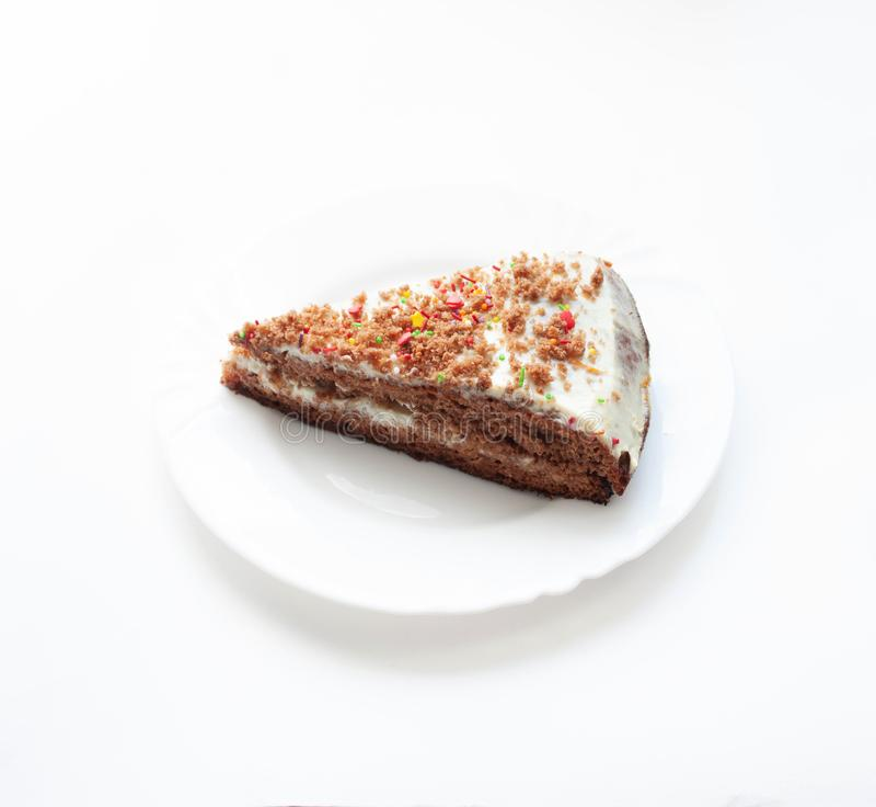 Fresh homemade piece of cake isolated white background royalty free stock photo