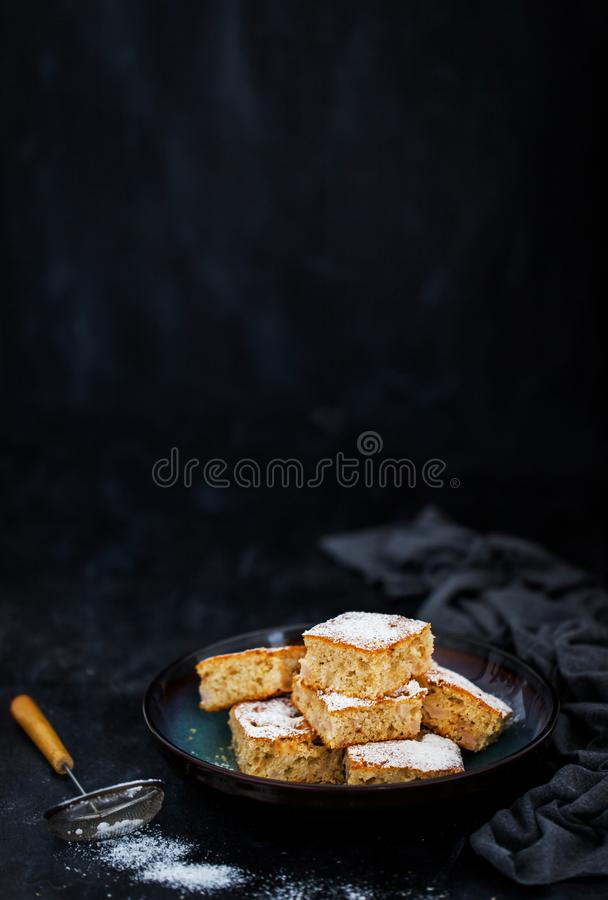 Fresh homemade simple delicious corn and fruits cake stock photo