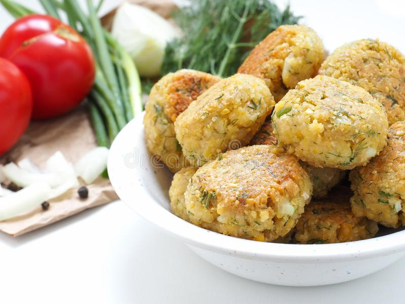 Homemade chickpea Falafel balls royalty free stock photography