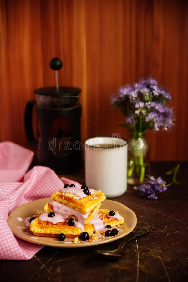 Fresh homemade Viennese waffles, drenched with yogurt and berries stock photos
