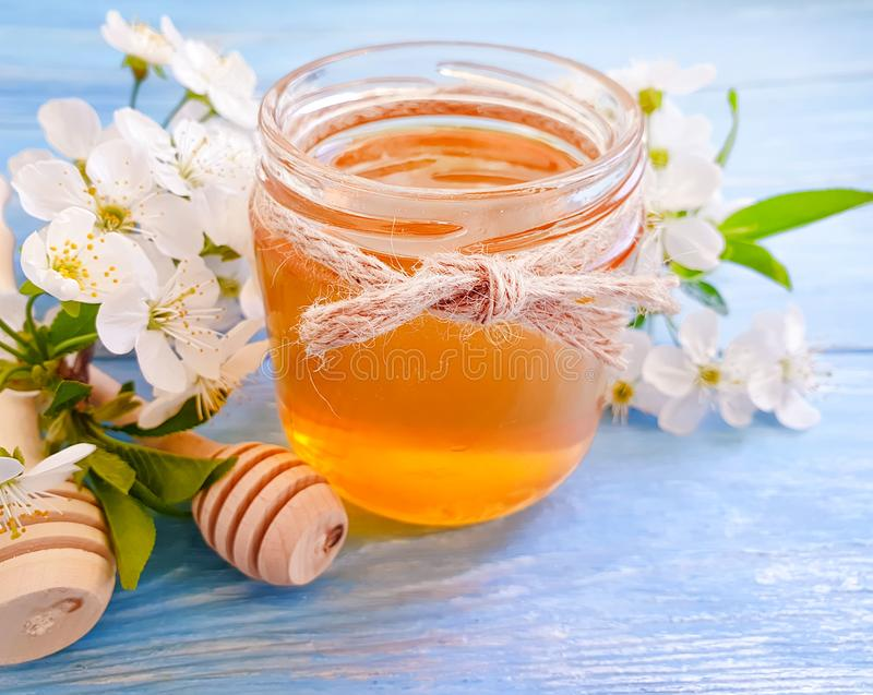 Fresh honey blossoming delicious nutrition healthy cherry on wooden background royalty free stock photography