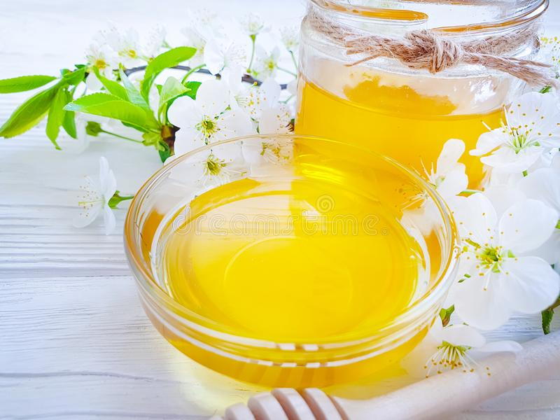 Fresh honey blossoming delicious spring organic nutrition healthy cherry on wooden background stock photos