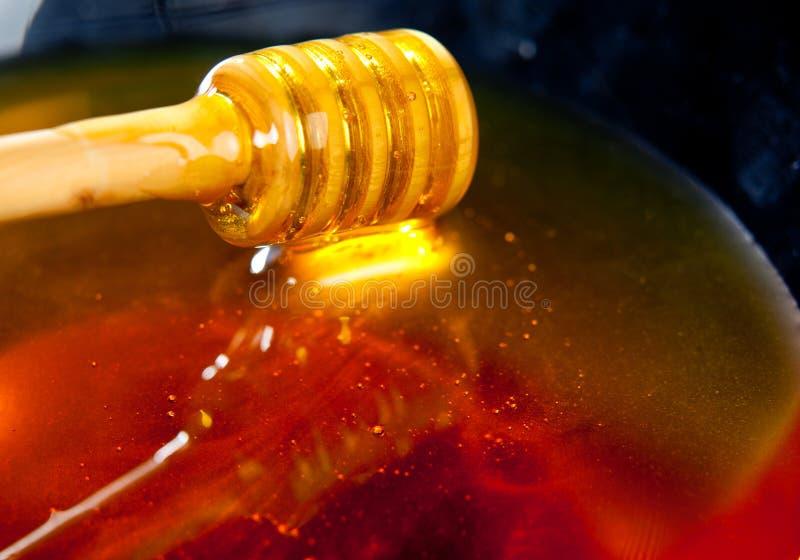 Fresh honey in a bowl.JH. Honey dripper in a bowl of fresh honey.JH stock photo