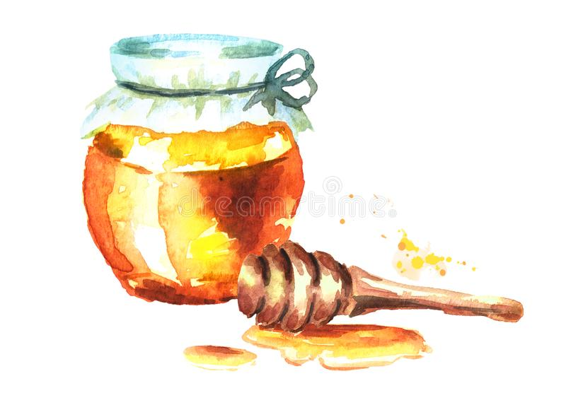 Fresh honey in the glass and honey dipper. Watercolor hand drawn illustration. Fresh honey in the glass and honey dipper. Watercolor hand drawn illustration stock illustration