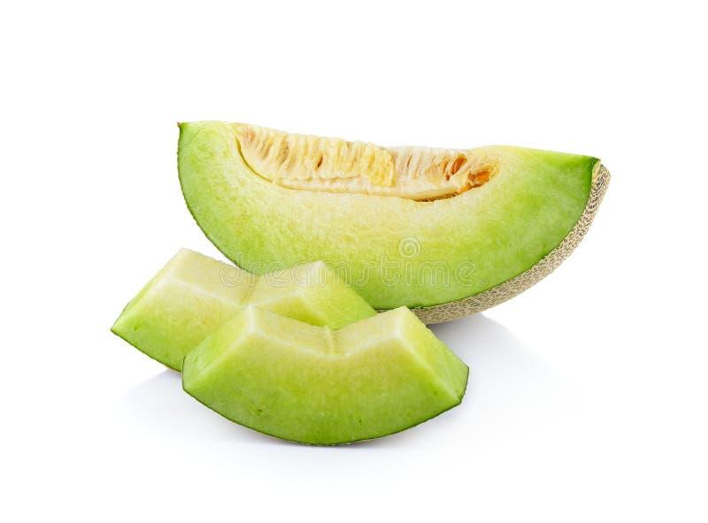 Fresh honeydew Melon on White Background. Fresh honeydew Melon on a white background royalty free stock photos