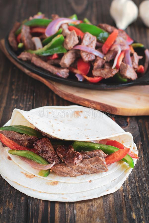 Fresh Hot Beef Steak Fajita stock photo