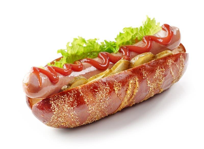 Fresh hot dog on a white background royalty free stock image