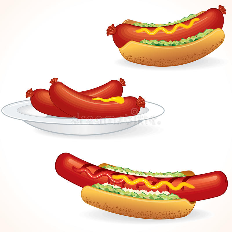 Download Fresh Hot Dogs stock vector. Image of images, fastfood - 20755571