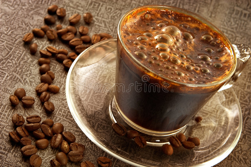 Fresh hot sweet coffee stock images
