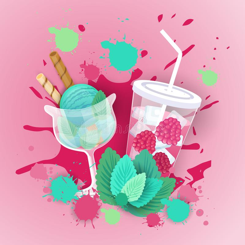 Fresh Ice Cream With Cocktail Logo Sweet Beautiful Dessert Delicious Food Banner stock illustration