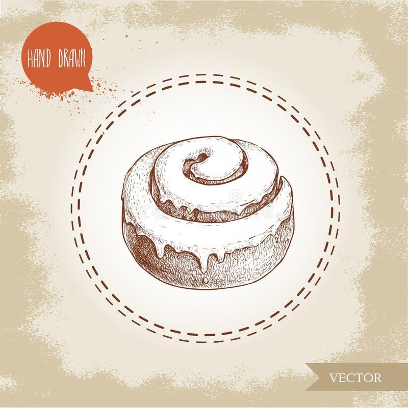 Fresh iced cinnamon bun. Daily product. vector illustration