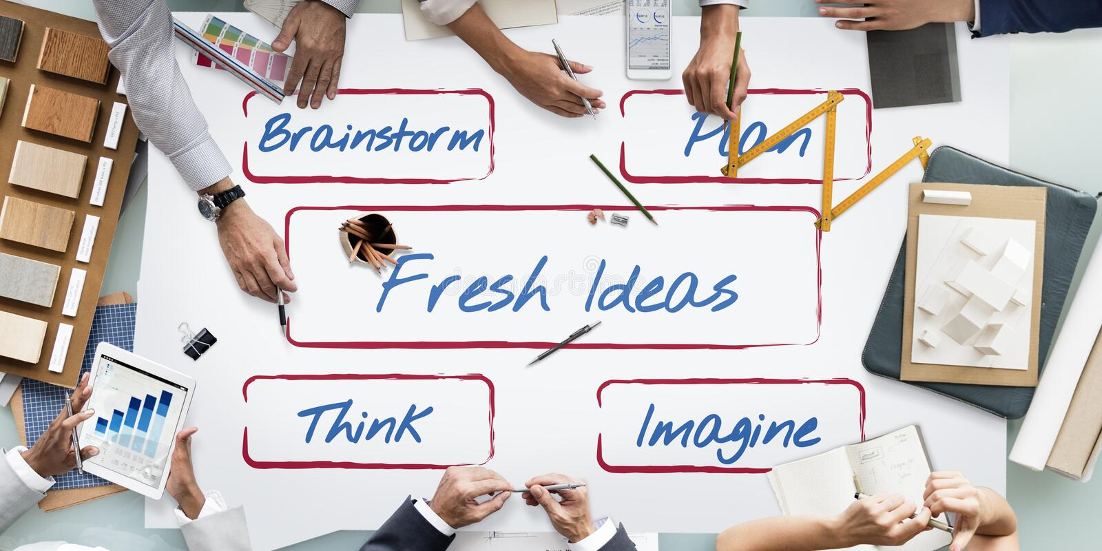 Fresh Ideas Be Creative Inspire Concept. Business People Fresh Ideas Concept stock photos