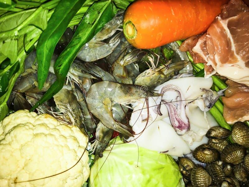 Fresh ingredient of Shabu or Suki. Japanese buffet food. stock photos