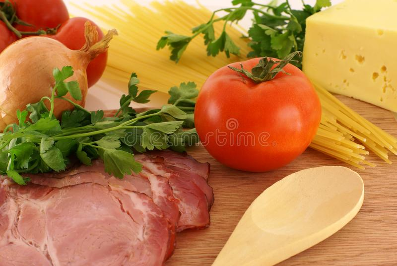 Fresh ingredients for making pasta royalty free stock images
