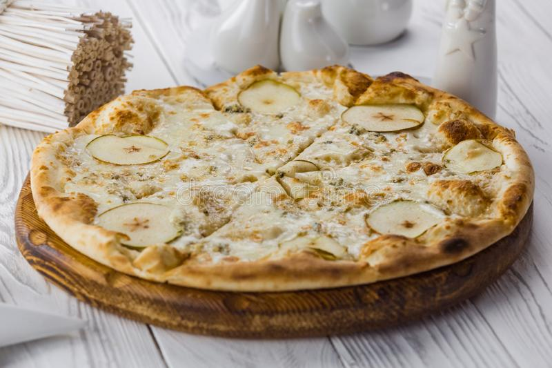 Fresh italian classic original pizza with vegetables stock photos