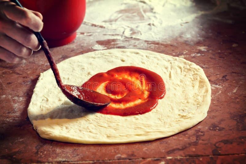 Fresh Italian pizza dough stock image