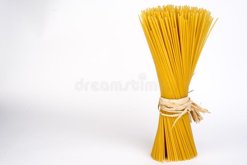 Fresh Italian wheat pasta, spaghetti. Fresh Italian durum wheat pasta stock image