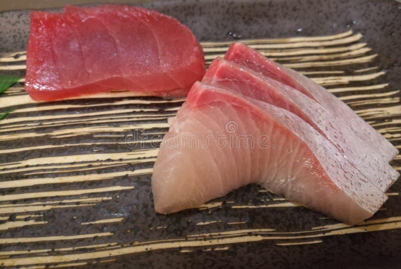Fresh Japanese Hamachi white raw fish sashimi royalty free stock images