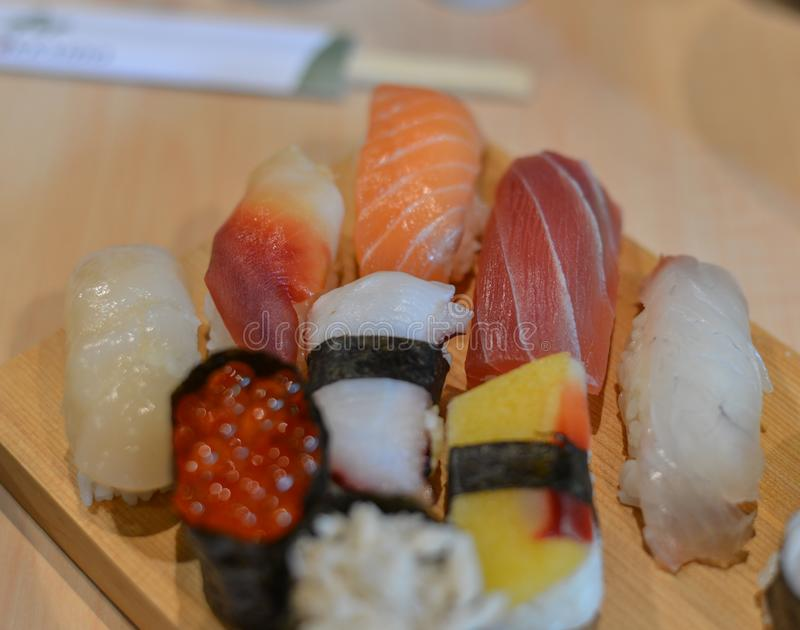 Fresh Japanese sushi raw fish royalty free stock images