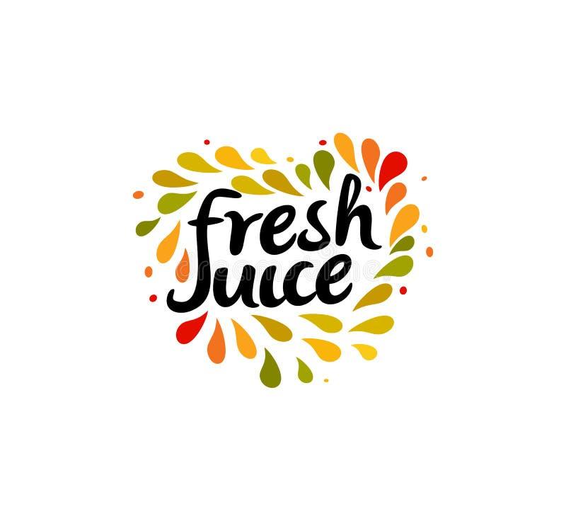 Fresh juice emblem. Colorful juice drops splashed around the heart shape with text inside on white background. Modern royalty free illustration